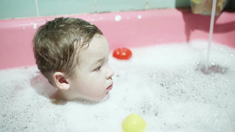Boy in the bath Footage