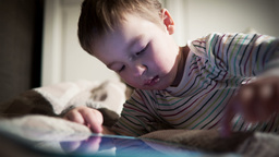 Boy using touchpad Footage