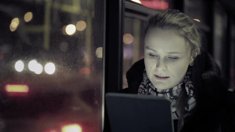 Woman with touchpad in the bus Footage