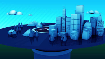 Rotation of Virtual blue geometric City on CD records player,urban fairy tale Animation