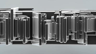 Cube box Data processing,glass metal transport steel in virtual space,Abstract b Animation