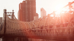 Sunset Dusk Sun Flare. Bridge City Urban stock footage