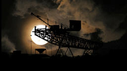 full moon night. time lapse. crane silhouette Footage