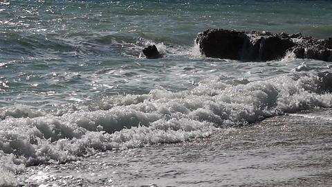 Waves smashing the coastline Footage