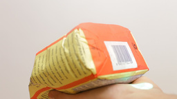 Barcode Reading On Flour Pack stock footage