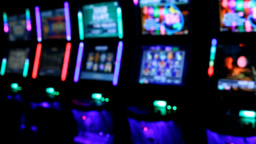 Slot machines videopoker glowing angle view Footage