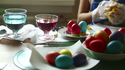Coloring Easter Eggs stock footage