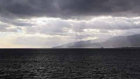 Clouds over Strait of Messina. Italy Footage