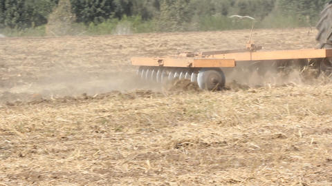 Agriculture plowing farmer working tractor harvest Footage