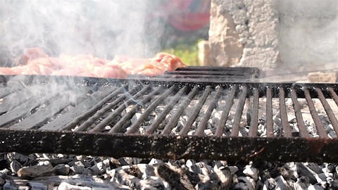 Hot grill with meat Footage