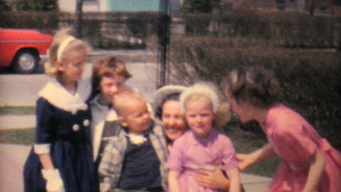 Aunt Gives Hugs To Kids In Driveway 1962 Vintage Footage