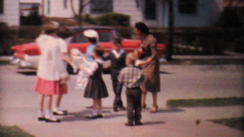 Kids Playing In The Driveway 1962 Vintage 8mm Film stock footage