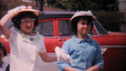 Little Girls With Pretty Hats In Summer 1962 Footage
