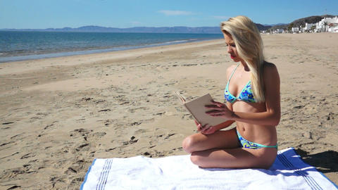 Beach Bikini Girl Sit Reading Footage