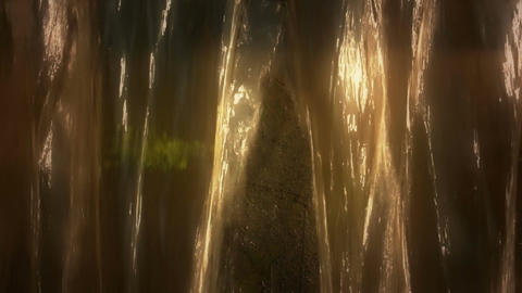 Waterfall And Light Reflection stock footage