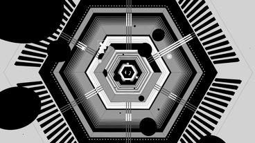 Black & White Abstract Cartoon Geometric Flying In stock footage