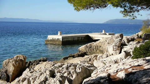 Stone dock on mediterranean Live Action