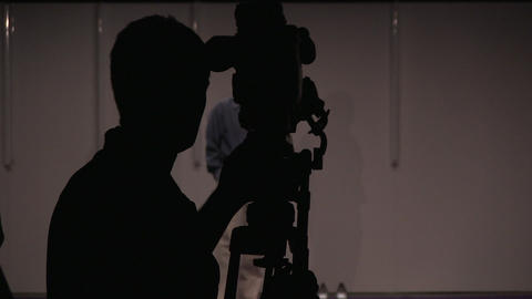 Young Man With Video Camcorder Capturing Journalis stock footage