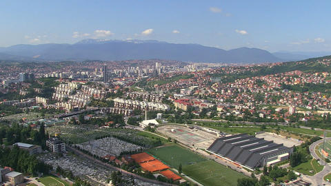Aerial shot of City centre of Sarajevo, 2013 in Sa Footage