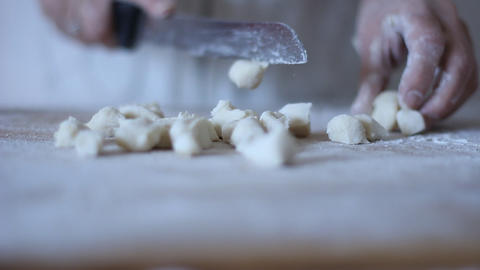 Gnocchi Potato Recipe Pasta being rolled over a fo Footage