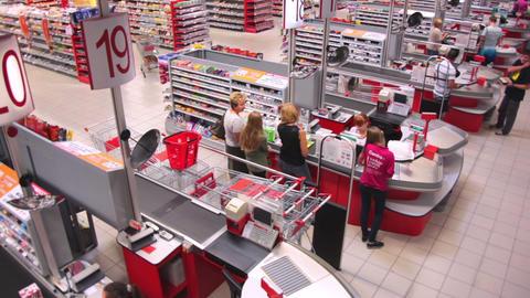 Crane shot of cash desk at a supermarket Footage