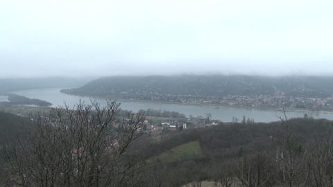 4 K Danube Bend Foggy Winter Day Visegrad Hungary  Footage