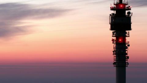 Budapest Sunrise Aerial TV Tower Timelapse 3 Footage