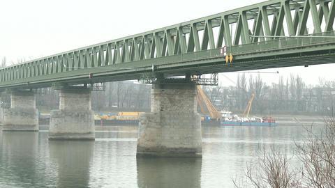 Iron Bridge over River Danube Budapest Hungary 2 Footage