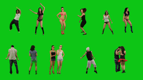 A lot of people dancing on green screen Footage