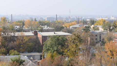 City Panorama in Industrial Quarter Live Action