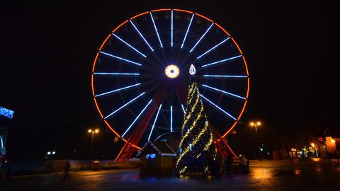 Ferris Wheel Amusement Park Time Lapse, Christmas, stock footage