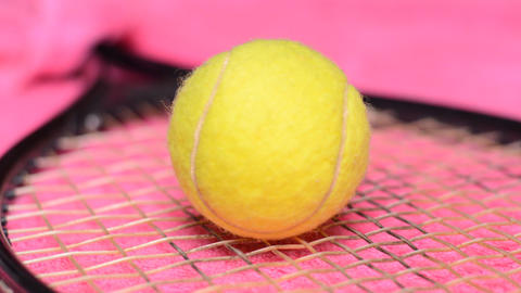 Tennis Ball And Racket, Dolly Shot stock footage