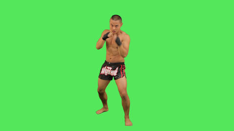 Thai Boxer Fighting stock footage