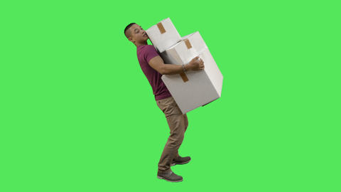 Male carrying boxes Live Action
