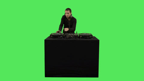 Male DJ Playing Music On Decks stock footage