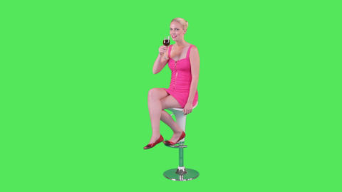 Female On Chair Holding Up Glass Of Wine stock footage