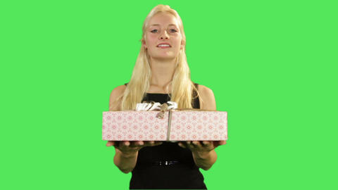 Female Giving Present stock footage