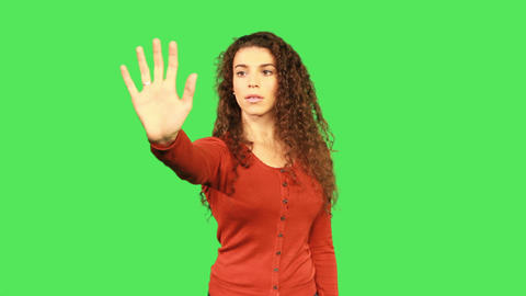 Young Adult Female Touching Virtual Screen stock footage