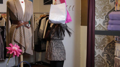 Female exited with shopping bags Live Action