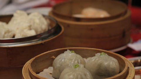 Close up of dim sum in Chinese restaurant Footage