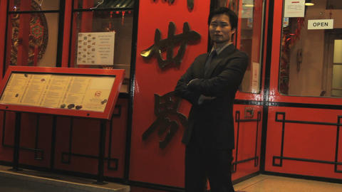 Portrait of owner of Chinese restaurant Footage
