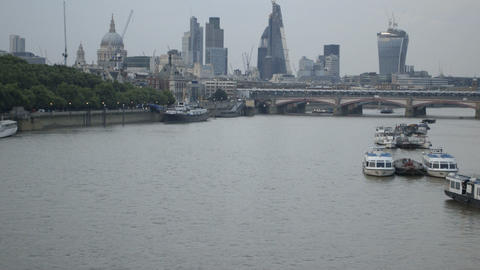 Cityscape London viewed over river Thames Footage