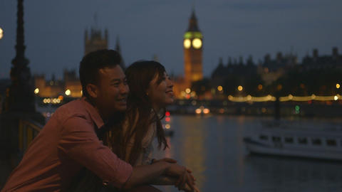 Young couple smiling with big ben in background Footage
