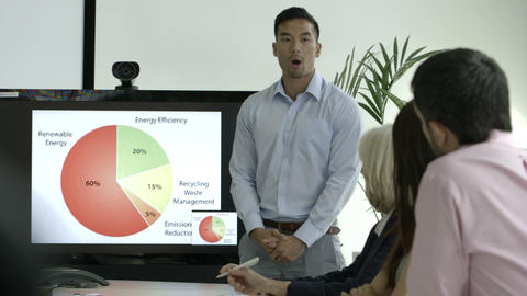 Businessman explaining with the help of pie chart in board room Footage