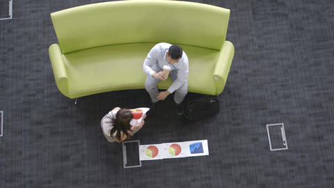 Business People On Sofa In Meeting stock footage
