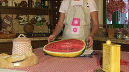 Kitchen Country Table Woman Watermelon Open Ripe R stock footage