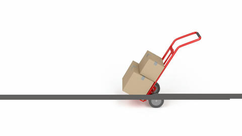 Hand truck with boxes Animation