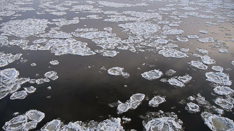 A Lot Of Ice Floes On The Icy River stock footage