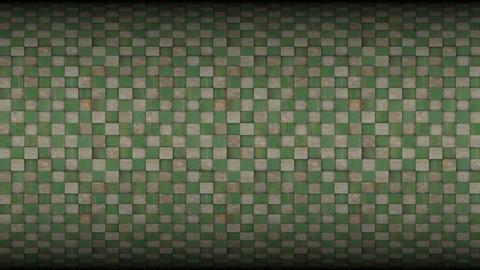 3d square mosaic tiled metal rusty grunge pattern Animation