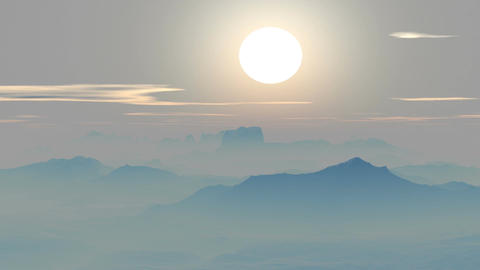 Misty sunset in the mountains Animation